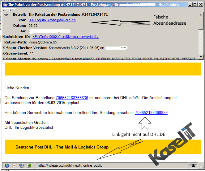 kasel it phishing mail achtung gefahr dhl paket dienst. Black Bedroom Furniture Sets. Home Design Ideas